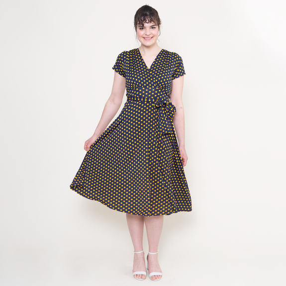 Margaret Dress in Navy with Gold Polka Dots by Karina Dresses