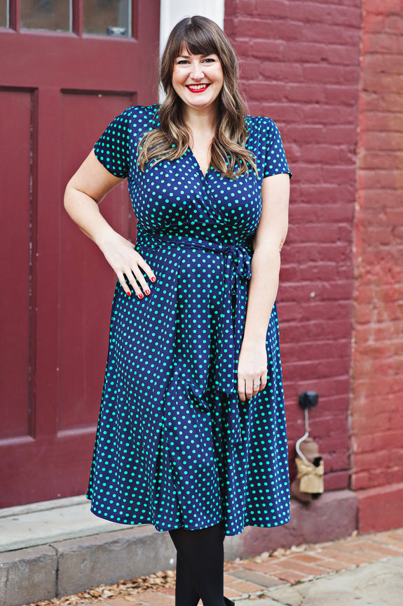 Margaret Dress in Navy with Green Polka Dots by Karina Dresses