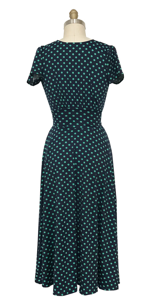Margaret Dress in Navy with Green Polka Dots