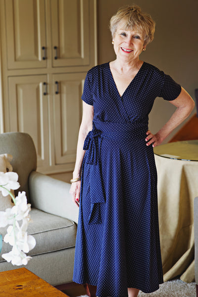 Margaret Dress in Navy Pin Dots by Karina Dresses