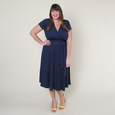 Margaret Dress - Navy with White Pin Dots