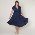 Margaret Dress in Navy with White Pin Dots by Karina Dresses