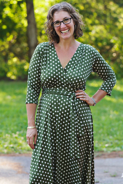 Margaret Dress in Olive Polka Dots by Karina Dresses