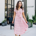 Margaret Dress in Pink Flamingos by Karina Dresses
