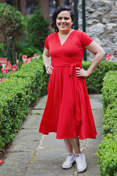 Margaret Dress in Red Pin Dots by Karina Dresses