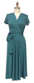 Margaret Dress in Teal Fans
