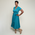 Margaret Dress in Teal Fans by Karina Dresses