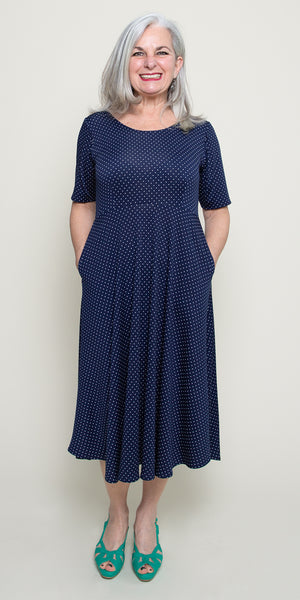 Maria Dress in Navy with White Pin Dots by Karina Dresses