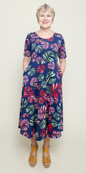 Maria Dress in Navy Tropical Palm By Karina Dresses