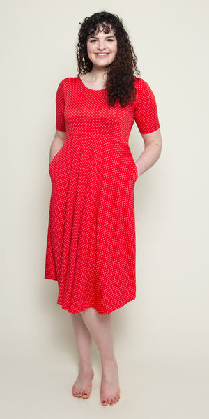 Maria Dress in Red with White Pin Dots by Karina Dresses