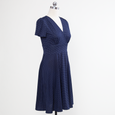 Megan Dress in Navy with White Pin Dots by Karina Dresses