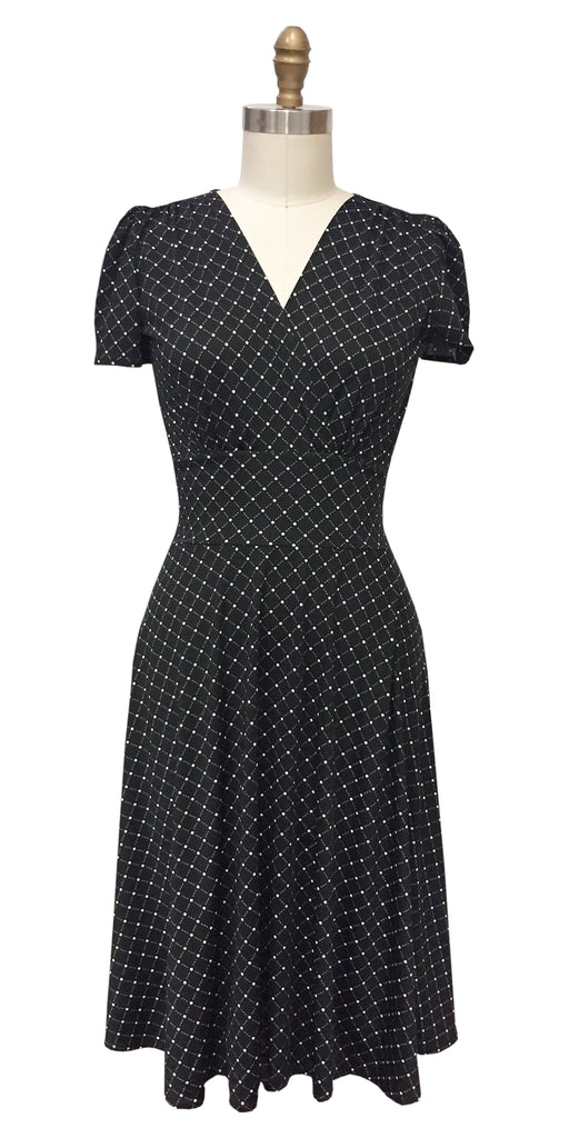 1940s Style Dresses | 40s Dress, Swing Dress Megan- Black and White Cross Dots  $108.00 AT vintagedancer.com