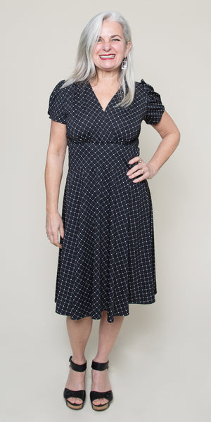 Megan Dress in Black with White Cross Dots