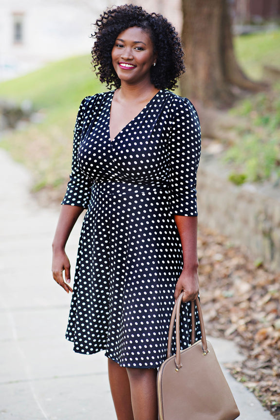 Plus Size Polka Dot Dresses – Vintage 40s, 50s, 60s, 70s Dresses Megan Dress - Black with White Polka Dots $108.00 AT vintagedancer.com