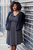 Megan Dress in Black with White Polka Dots by Karina Dresses