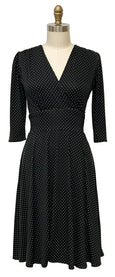Megan Dress in Black with White Pin Dots