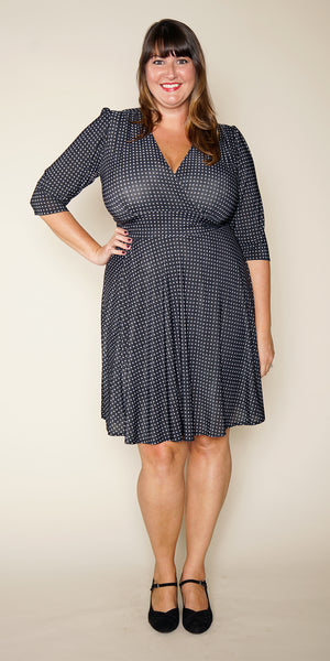 Megan Dress in Black with Steel Micro Dots