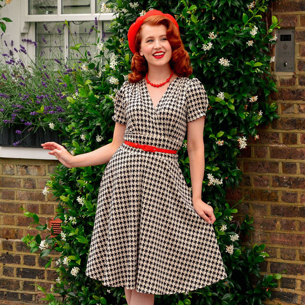 1940s Fashion Advice for Short Women Megan Dress - Carriage House $108.00 AT vintagedancer.com