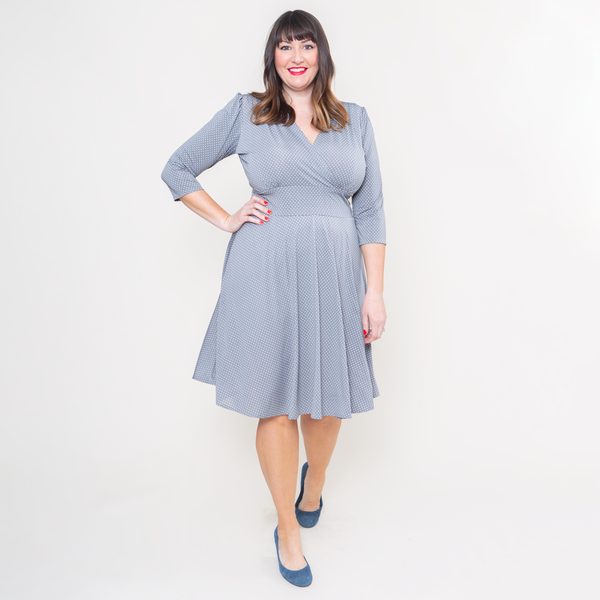 Megan Dress in Dove Dots by Karina Dresses