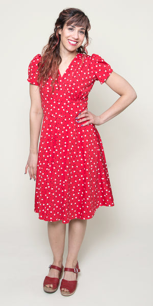 1940s Style Dresses | 40s Dress, Swing Dress Megan- Cosmo $108.00 AT vintagedancer.com