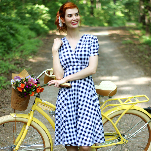 Vintage Maternity Clothes History Megan Dress - Navy and White Gingham $108.00 AT vintagedancer.com