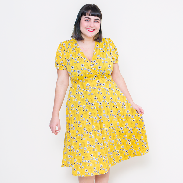 1940s Tea Dresses, Mature, Mrs. Long Sleeve Dresses Megan Dress - Goldenrod $108.00 AT vintagedancer.com