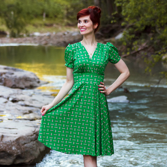 Swing Dance Clothing You Can Dance In Megan Dress - Keen Angles $108.00 AT vintagedancer.com