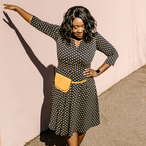 Megan Dress in Navy with Gold Polka Dots by Karina Dresses