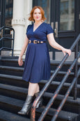 Megan Dress in Navy Pin Dot by Karina Dresses