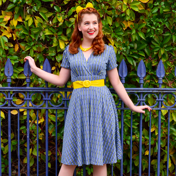 1940s Plus Size Dresses | Swing Dress, Tea Dress Megan Dress - On Point $88.00 AT vintagedancer.com