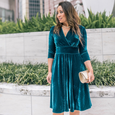 Megan Dress in Peacock Velvet by Karina Dresses