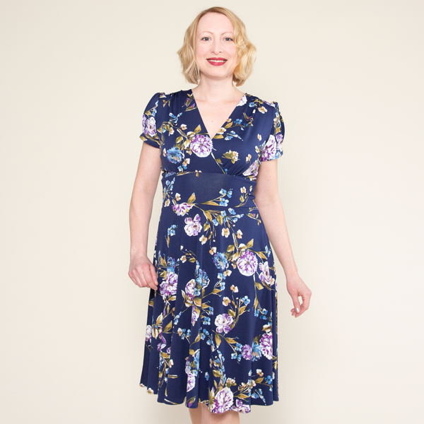 Vintage Maternity Clothing Styles 1910-1960 Megan Dress - Blue Blossoms $108.00 AT vintagedancer.com