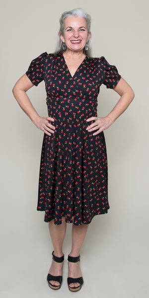 1940s Style Dresses | 40s Dress, Swing Dress Megan- Tulip Garden $108.00 AT vintagedancer.com