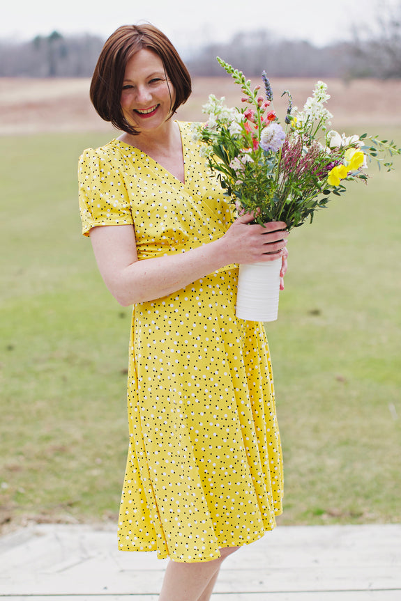 Megan Dress in Daffodil Dots by Karina Dresses