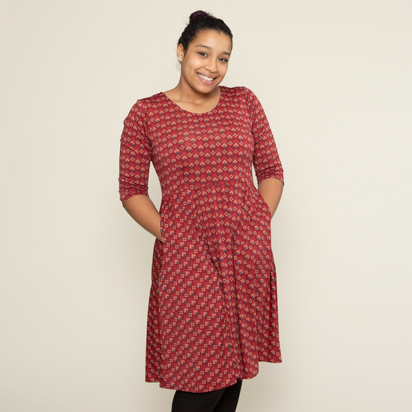 Naomi Dress in Wine Deco Squares by Karina Dresses