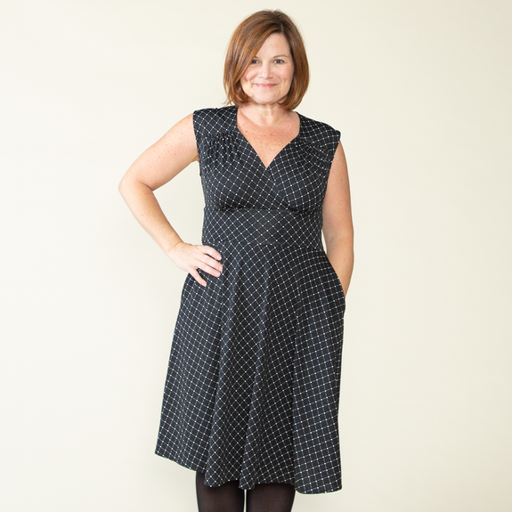 Nora Dress in Black & White Cross Dots by Karina Dresses