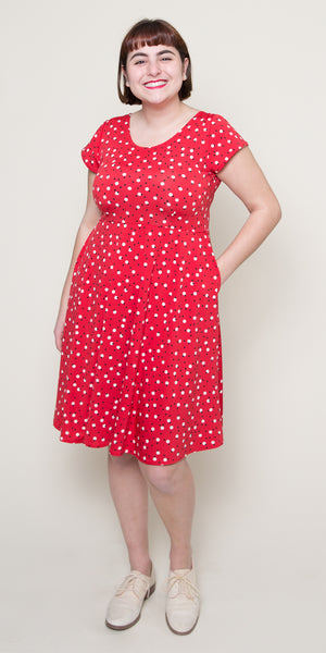 Plus Size Polka Dot Dresses – Vintage 40s, 50s, 60s Dresses Naomi Dress- Cosmo $108.00 AT vintagedancer.com