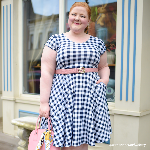 Naomi Dress - Navy and White Gingham