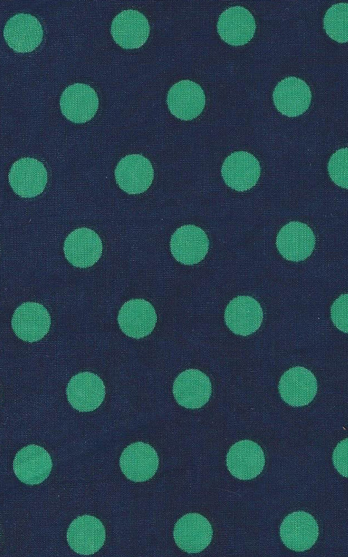Karina Dresses: Navy with Green Polka Dots