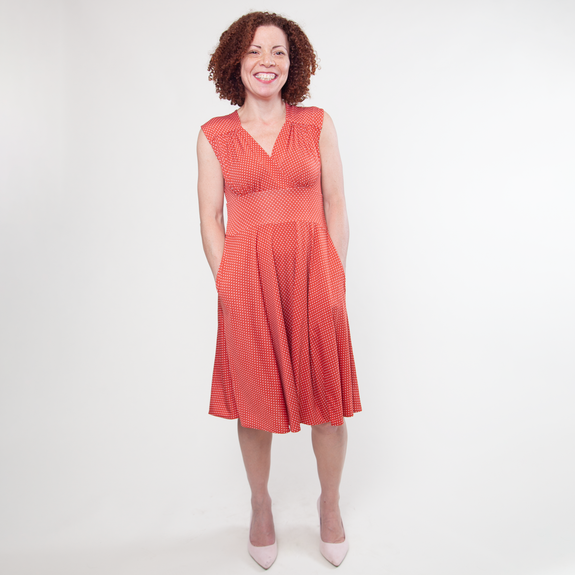Nora Dress in Clementine Dot by Karina Dresses