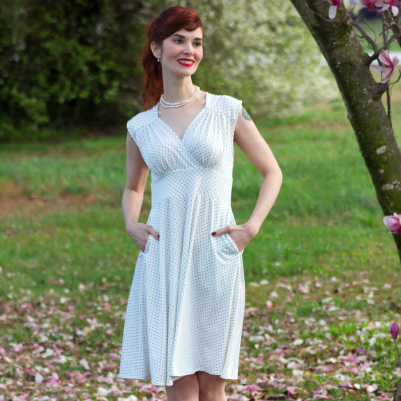 1950s Dresses, 50s Dresses | 1950s Style Dresses Nora Dress - Cream with Black Pin Dots $108.00 AT vintagedancer.com