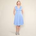 Nora Dress in Forget Me Not Dot by Karina Dresses
