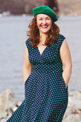 Nora Dress in Navy with Green Polka Dots by Karina Dresses