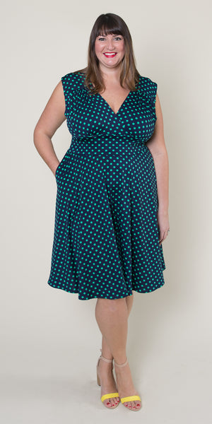 Nora Dress in Navy with Green Polka Dots