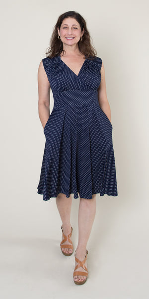 Nora Dress in Navy with White Pin Dots