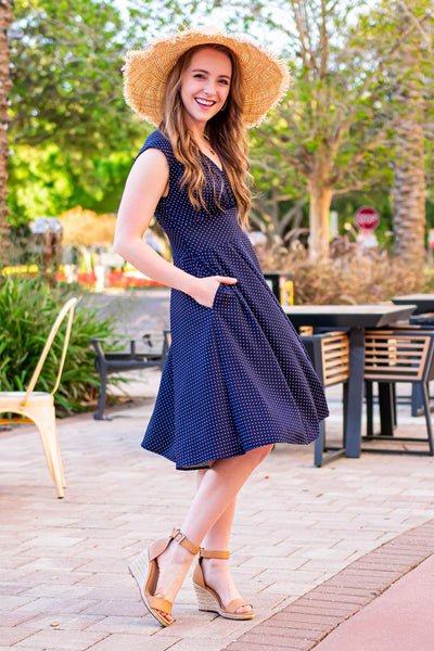 Nora Dress in Navy with White Pin Dots by Karina Dresses