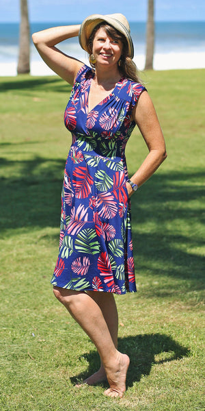 Nora Dress in Navy Tropical Palm by Karina Dresses