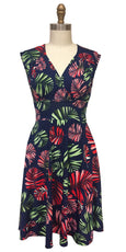 Nora Dress in Navy Tropical Palms