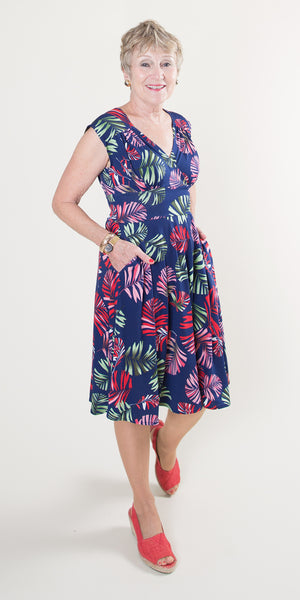 Nora Dress - Navy Tropical Palm