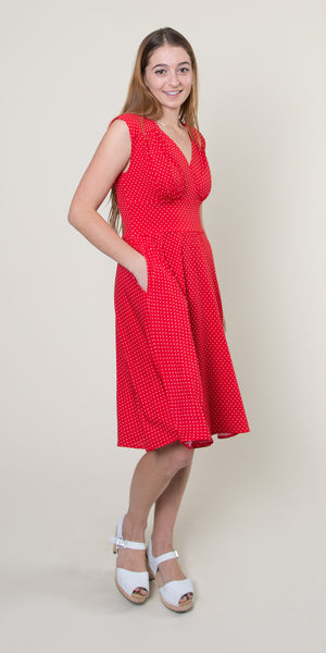 Nora Dress in Red with White Pin Dots